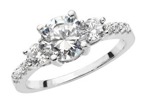 Wunderschöner 925 Sterling Silber Trilogie Damen - Ring mit Zirkonia, 58 (18.5); WJS22415