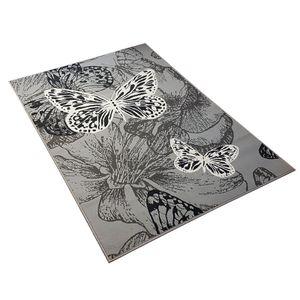 Velours Design Teppich New Butterfly | Kurzflor Schmetterling creme, violett, blau, Farbe:hellgrau/creme, Größe:80x150 cm