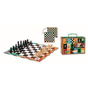 DJECO Reisespiel: Schach / Dame  27 x 27 cm Spielbrett