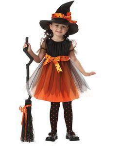 Halloween Mädchen Kostüm Karneval Fasching Bekleidung Kinder Hexen Fledermaus Kleidung ,Gelbe Hexe,150cm