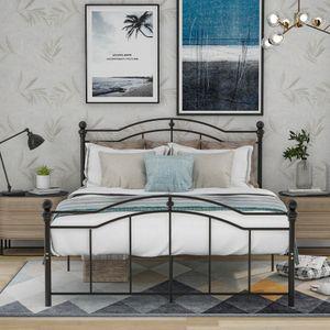 Merax Metallbett Bett 140 x 200cm Bettgestell mit Lattenrost, Gebogenes Metallrahmenbett Metallbetten Jugendbett mit Kopf- und Fußteil, Bettrahmen für Schlafzimmer und Gästezimmer, schwarz