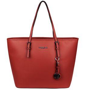 Damen Shopper Tasche Handtasche Rot Groß Kunstleder - Saffiano-Prägung Schultertasche Tote Bag Logo Anhänger Henkeltasche