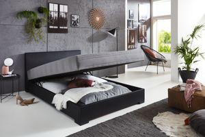 Relita Polsterbett MELS schwarz/anthrazit 140x200 cm mit Federkernmatratze und Bettkasten