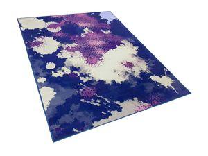 Teppich Lila Blau Beige Polyester 160 x 230 cm Kurzflor Aquarell Muster Bedruckt Rechteckig