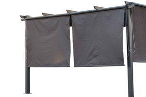 OUTFLEXX 2er Set Vorhang für Pergola mit 4x3m, anthrazit, für 13411/16071, je Vohang 168x145cm
