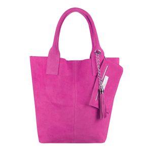 ITALY DAMEN XXL LEDER TASCHE Wildleder Shopper Schultertasche Schmucktasche Pink