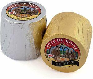 Tete de Moine Classic und Reserve AOP Mönchskopfkäse 1600g zwei ganze Laibe für Girolle Käsehobel KÜHLBOX-Versand mit Styroporbox und Spezialkühlakku für Lebensmittelversand
