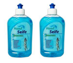 2x HANDSEIFE Antibakteriell 2x500ml Flüssigseife Seifenspender Cremeseife Hand Desinfektions Seife Hygiene Handwäsche hautschonend 17