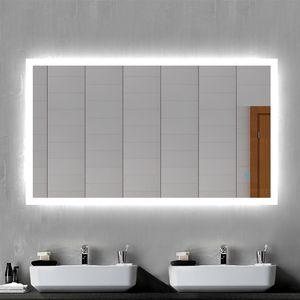 LED Badspiegel Badezimmerspiegel 120x70 mit Beleuchtung Lichtspiegel Wandspiegel mit Touch-schalter beschlagfrei IP44 energiesparend Kaltweiß