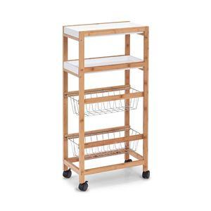 Küchenwagen, Bambustisch zum Servieren von Geschirr, eine Bar auf Rädern.