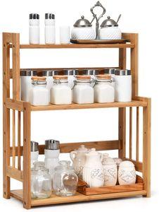 GOPLUS Gewürzregal mit 3 Etagen, Gewürzst?nder aus Bambus, Küchen Organizer mit Verstellbarer Ablage, Gewürzst?nder für Ordnung in der Küche, für Küche Badezimmer Arbeitszimmer