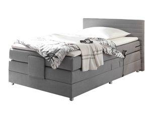 Boxspringbett 120 x 200 cm grau elektrisch mit 4 cm Topper - CARMEN - Die Möbelfundgrube
