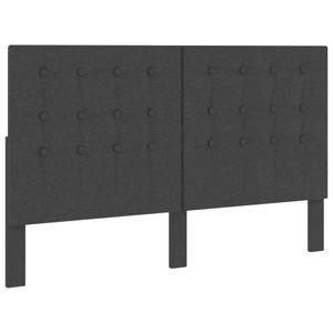 Bettkopfteil, Kopfteil für Bett Getuftet Dunkelgrau Stoff 160 x 200 cm
