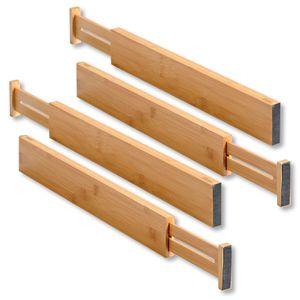 Schubladentrenner, gefertigt aus Bambus, Maße: B: 45,5-55 x H: 6 x T: 1,5 cm