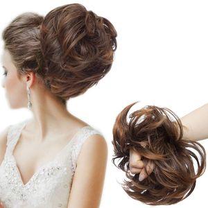 S-noilite Große Haarteil Haargummi Extensions Messy Bun Dutt Hochsteckfrisuren Voluminös Haarverlängerung mit Gummiband (80G) Hellbraun & Dunkelbraun