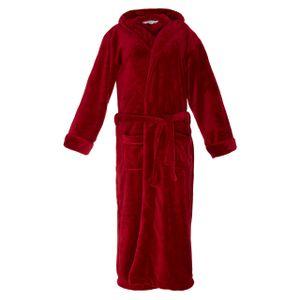 Lumaland Luxury Mikrofaser Bademantel mit Kapuze für Damen und Herren verschiedene Größen und Farben Rot L