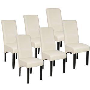 tectake 6 Esszimmerstühle, ergonomisch, massives Hartholz - creme