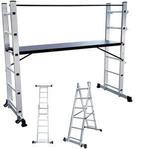 Hengmei  Alu Multigerüst Alu Leiter Arbeitsgerüst Arbeitsplattform Gerüst Leiter Treppenleiter bis 150 kg belastbar, Silber