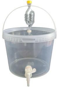 Kompletter Gärbehälter 10L - Set: Gäreimer mit Gärröhrchen und Dichtgummi und Ablaufhahn aus Kunstoff, Eimer für Bier oder Wein mit Griff, transparent