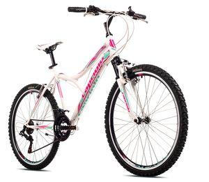 breluxx® 26 Zoll Kinderfahrrad Mountainbike Hardtail Diavolo600 FS Sport, weiß, 18 Gang Shimano -  EU