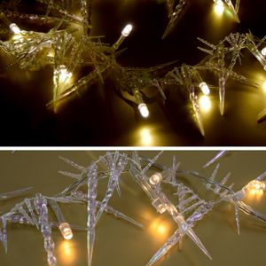 (726) LED 20er Lichterkette EISZAPFEN warmweiss