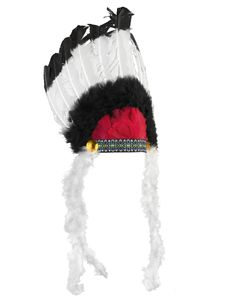 Indianerhäuptling Federschmuck schwarz-weiss-rot 40cm