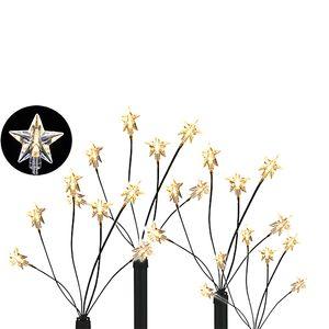 4er Set LED-Gartenleuchtstäbe mit 24 Sternen Batteriebetrieben