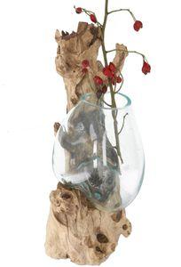 Wandvase, Wurzelholz Vase, Exotische Vase für die Wand - Glas 20*20 cm M9, Braun, Holz,Glas, Vasen & Blumentöpfe