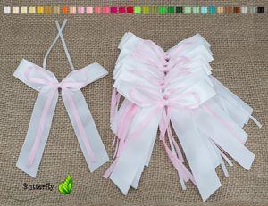 Antennenschleifen Hochzeit, 10 Stück, Farbauswahl:rose 123 / zartrosa / hellrosa