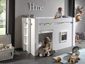 Vipack - Noah halbhohes Bett 90 x 200 cm Liegefläche inkl. Vorhang Set, Creme-Weiß