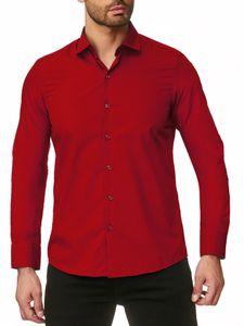 Reslad Herren Hemd Kentkragen Unicolor Langarmhemd RS-7002 Rot 4XL