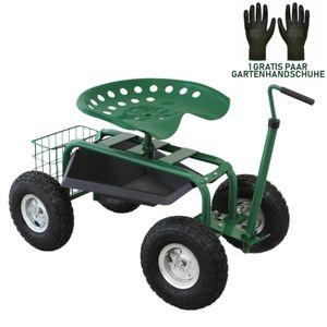 Fahrbarer Gartensitz mit Werkzeugfach und Korb