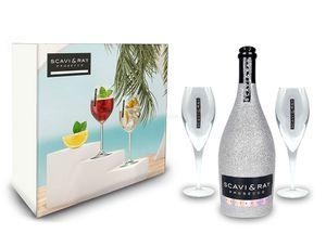 Scavi & Ray Bling Bling Silber Glitzer Giftbox Geschenkset - Scavi & Ray Prosecco Frizzante 0,75l (10% Vol) + 2x Prosecco Gläser -[Enthält Sulfite]