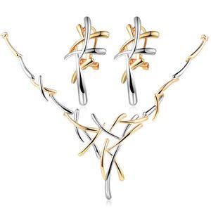 Damen Schmuck-Set Halskette mit Anhänger Ohrringe Ohrstecker Geschenk Autiga® silber-gold