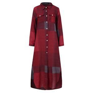 ZANZEA Frauen Blusenkleider übergroße Retro Langarm lose Tunika Shirt Kleid Maxikleider, Farbe: Weinrot, Größe: 5XL