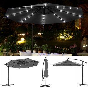 SONGMICS Sonnenschirm mit LED-Solar-Beleuchtung, Ø 300 cm, 32 LED-Lämpchen, UV-Schutz bis UPF 50+, Ampelschirm, Gartenschirm, mit Ständer, mit Kurbel, grau GPU018G01
