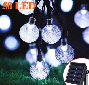 Solar Lichterkette Aussen - Zodight 9.5M Solar Lichterkette 50 LED Kristall Kugeln, 8 Modi Solarlichterkette Wasserdichte Innen/Außen für Garten, Bäume, Terrasse, Weihnachten, Party (Kaltesweiß)