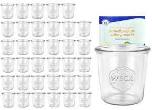 36er Set Weck Gläser 580ml Sturzgläser inkl. Gelierzauber Rezeptheft von Diamantzucker