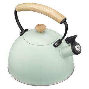 Navaris Teekessel zum Aufkochen von Wasser - Wasserkessel Flötenkessel Wasserkocher aus Edelstahl - Pfeifkessel für alle Herdarten - in Mint Grün