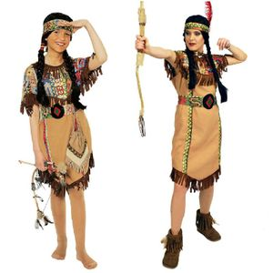 K31250652-44-46 braun Damen Indianerin Apachen Kleid Gr.44-46