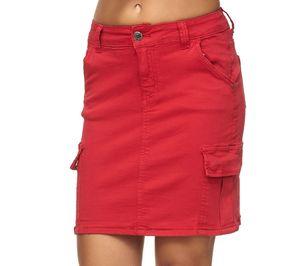 Damen Jeansrock Midi Cargo Rock mit Seitentaschen Skirt, Farben:Rot, Größe:36