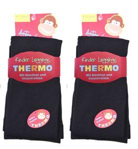 2 Kinder Thermo Leggings mit flauschigem Innenfleece, Farbe:Schwarz, Gr. :110/116