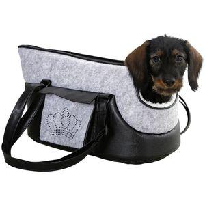 Tragetasche Chiara 46x23x25cm grau/schwarz mit Strasskrone Hund Tasche Transport