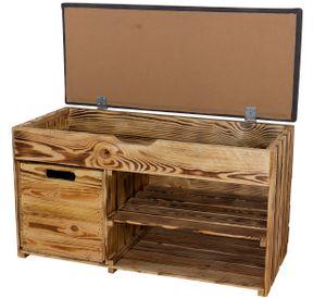 1x Rustikale, geflammte Sitzbank, gepolstert, mit zwei Fächern & einer Holzkiste, optimal für Schuhe / Mützen / Schals, neu, 90x40x55cm