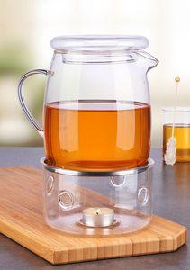 Glas Teekanne Glaskanne Kanne Tee mit Stövchen Glasstövchen 1,4L