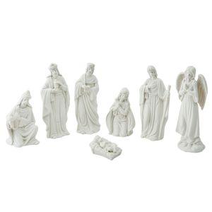 Clayre & Eef Weihnachtsdekoration 6CE0741 6*4*15 / 6*6*10 / 5*3*3 cm - Weiß Porzellan Dekorative Figur Deko Accessoires Wohnaccessoires