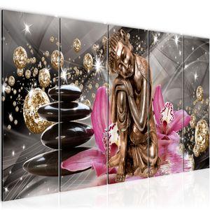 Buddha Orchidee BILD 200x80 cm − FOTOGRAFIE AUF VLIES LEINWANDBILD XXL DEKORATION WANDBILDER MODERN KUNSTDRUCK MEHRTEILIG 505355a