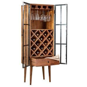 Massives Weinregal BODEGA 145cm Akazienholz Flaschenregal Flaschenständer Weinständer Industrial Design