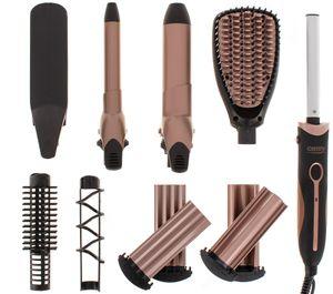 Camry Hairstyling Set | 5in1 | Richtbürste | ZIG-ZAG Wellenplatten | 19 mm und 32 mm  Lockenwickler