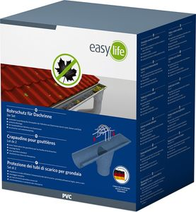easy life Fallrohr-Schutz 2er Pack Dachrinnen-Schutz für max. Ø 10 cm Dachrinnen-Sieb aus robustem Kunststoff in Grau